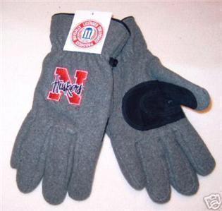 Nebraska Huskers Mens Grey Lined Fleece Gloves Medium Bonanza