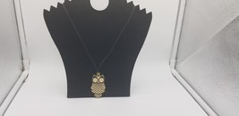 Vintage FS3397 Marked Gold Tone Owl With Black Face & Trim Pendant & Necklace  - $9.62