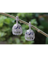 Indian Wedding Silver Jhumka Earrings, Traditional Bridal Earrings - $89.00