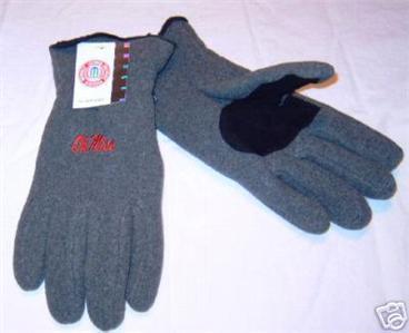 Mississippi Ole Miss Mens Grey Lined Fleece Gloves sz M Bonanza