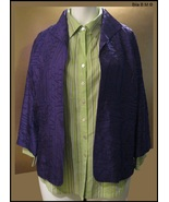 CHICO'S ALL SILK JACKET - Size 2 - Purple Embroidered Ladies Jacket - $38.00