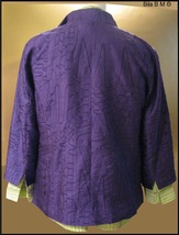 CHICO'S ALL SILK JACKET - Size 2 - Purple Embroidered Ladies Jacket image 2