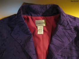 CHICO'S ALL SILK JACKET - Size 2 - Purple Embroidered Ladies Jacket image 3