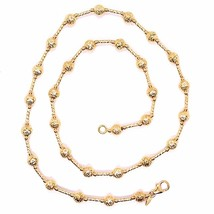 18K ROSE GOLD CHAIN FINELY WORKED 5 MM BALL SPHERES AND TUBE LINK, 19.7 INCHES image 2