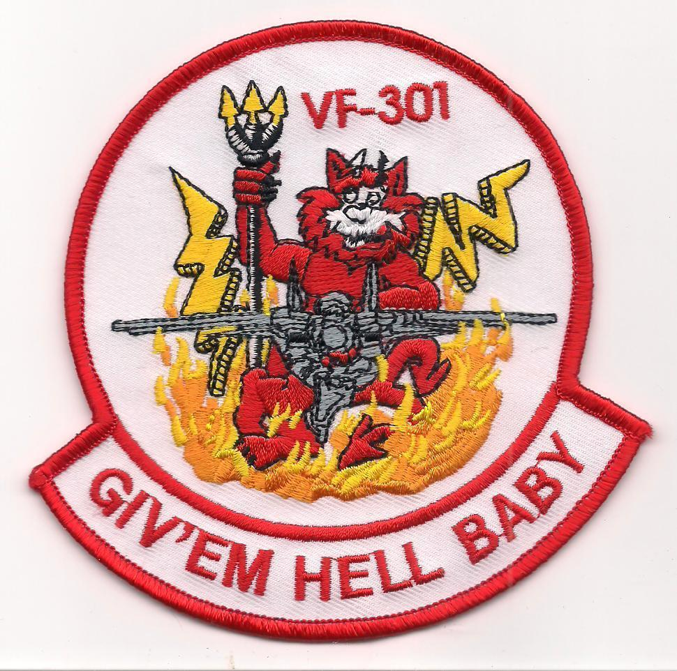 US Navy VF-301 Fighter Sq Devil's Disciples Give'em Hell Baby F-14A Tomcat Patch