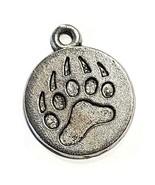 Bear Paw Fine Pewter Pendant Charm - 1.4mm x 24mm x 20mm - $0.99
