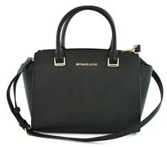 Michael Kors Selma Black Saffiano Leather Medium Top Zip Satchel Bag - $166.39