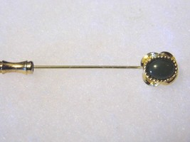 Vintage Beautiful Gold Tone Green Stone Gem Pin Costume Fashion Jewelry - $11.66
