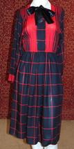 CALIFORNIA GIRL VTG red window pane dress 6 (TC1-02I8G) - $29.68