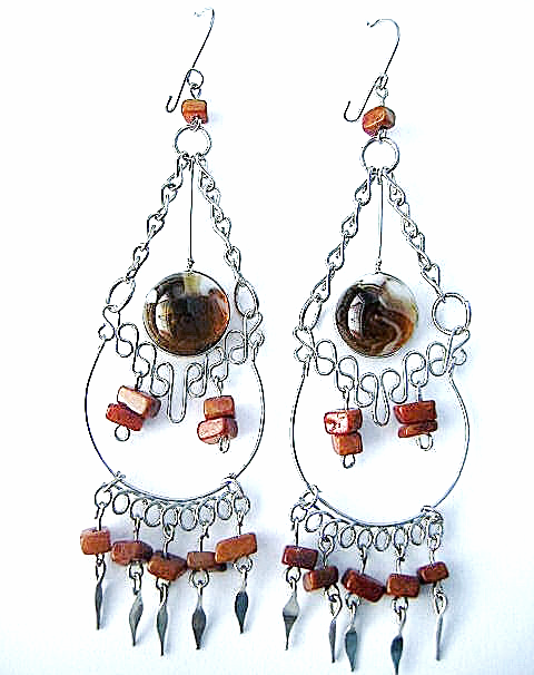Extra Large Dangle Earrings Murano Glass & Alpaca Silver Ethnic New Art Peru