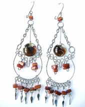 Extra Large Dangle Earrings Murano Glass & Alpaca Silver Ethnic New Art ... - $10.00