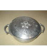 VTG Mid-Century Rose Pattern Hammered Aluminum ... - $26.00