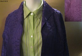 CHICO'S ALL SILK JACKET - Size 2 - Purple Embroidered Ladies Jacket image 5