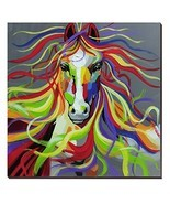 3Hdeko-Horse Oil Painting on Canvas 30x30inch Colorful Wild Animal Moder... - $75.78 CAD