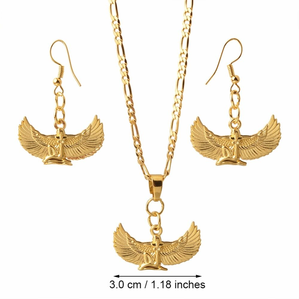 Anniyo Fab Egyptian Goddess Necklace Earrings sets Gold Color Wing Necklace Ankh - $20.22