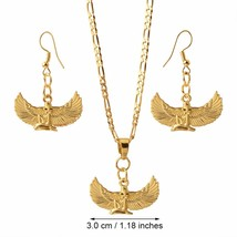 Anniyo Fab Egyptian Goddess Necklace Earrings sets Gold Color Wing Neckl... - $20.22