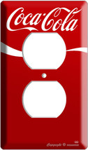 COKE COCA COLA CLASSIC RED WAVE STRIPE 2 POWER OUTLETS COVER WALL PLATE ... - $9.99