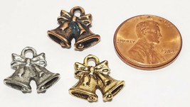 HOLIDAY BELLS FINE PEWTER PENDANT CHARM 15x14.5x3.5mm image 2