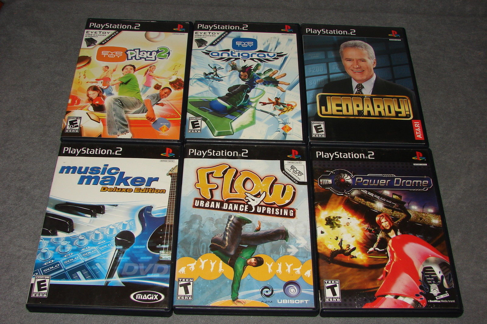 Playstation 2 PS2: 6 Game Lot - Power Drome + Jeopardy + Antigrav + Eyetoy Play