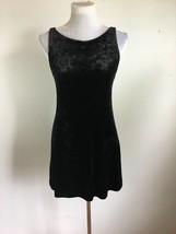 Betsey Johnson Womens A-Line Dress S Small Black Crushed Velvet Sleevele... - $98.99