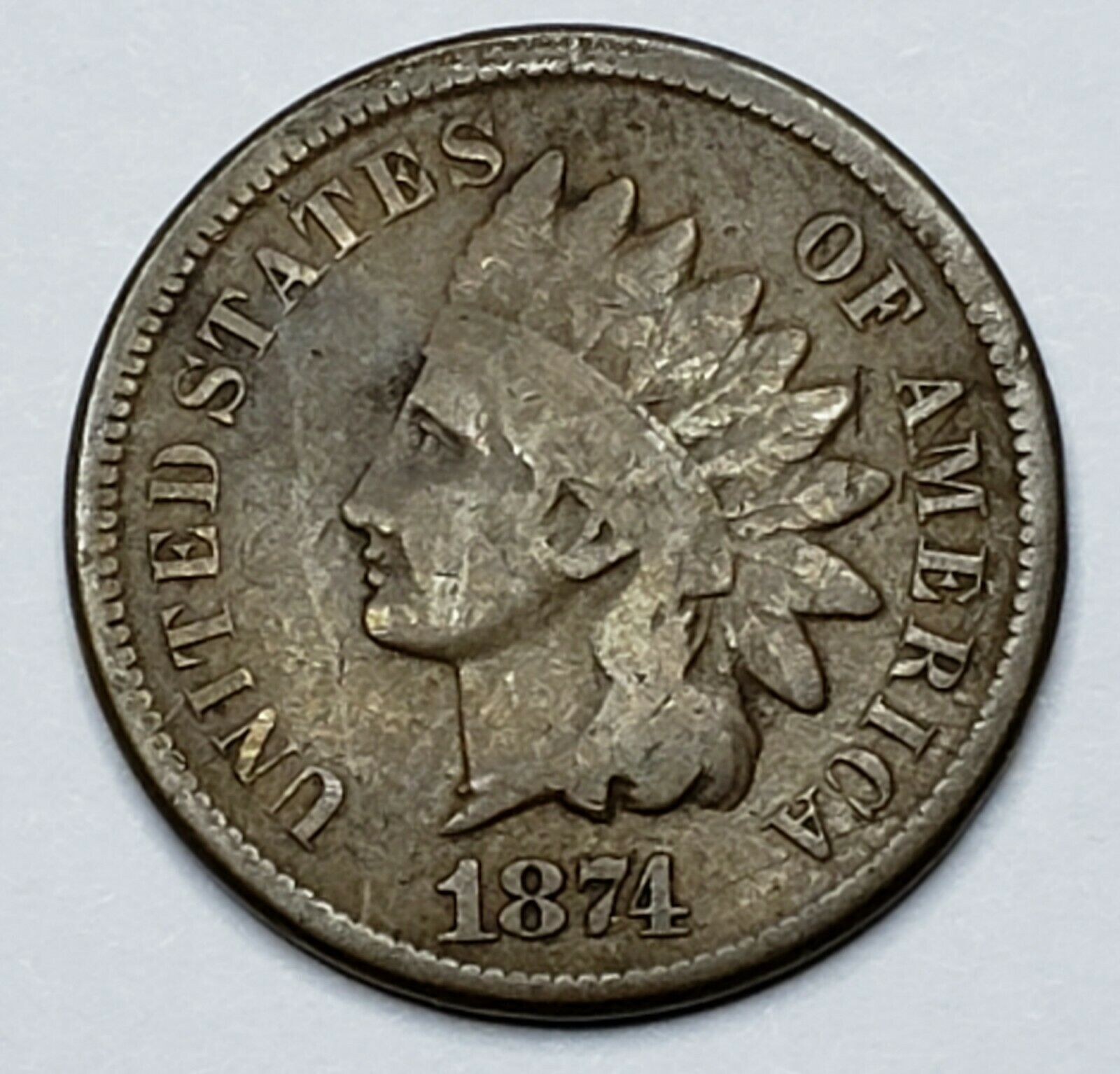 1874 Indian Head Cent Penny Coin Lot 519-92