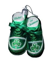 KURT ADLER NOBLE GEMS GREEN IRISH BABY SHOES 1st CHRISTMAS GLASS ORNAMENT - $12.88