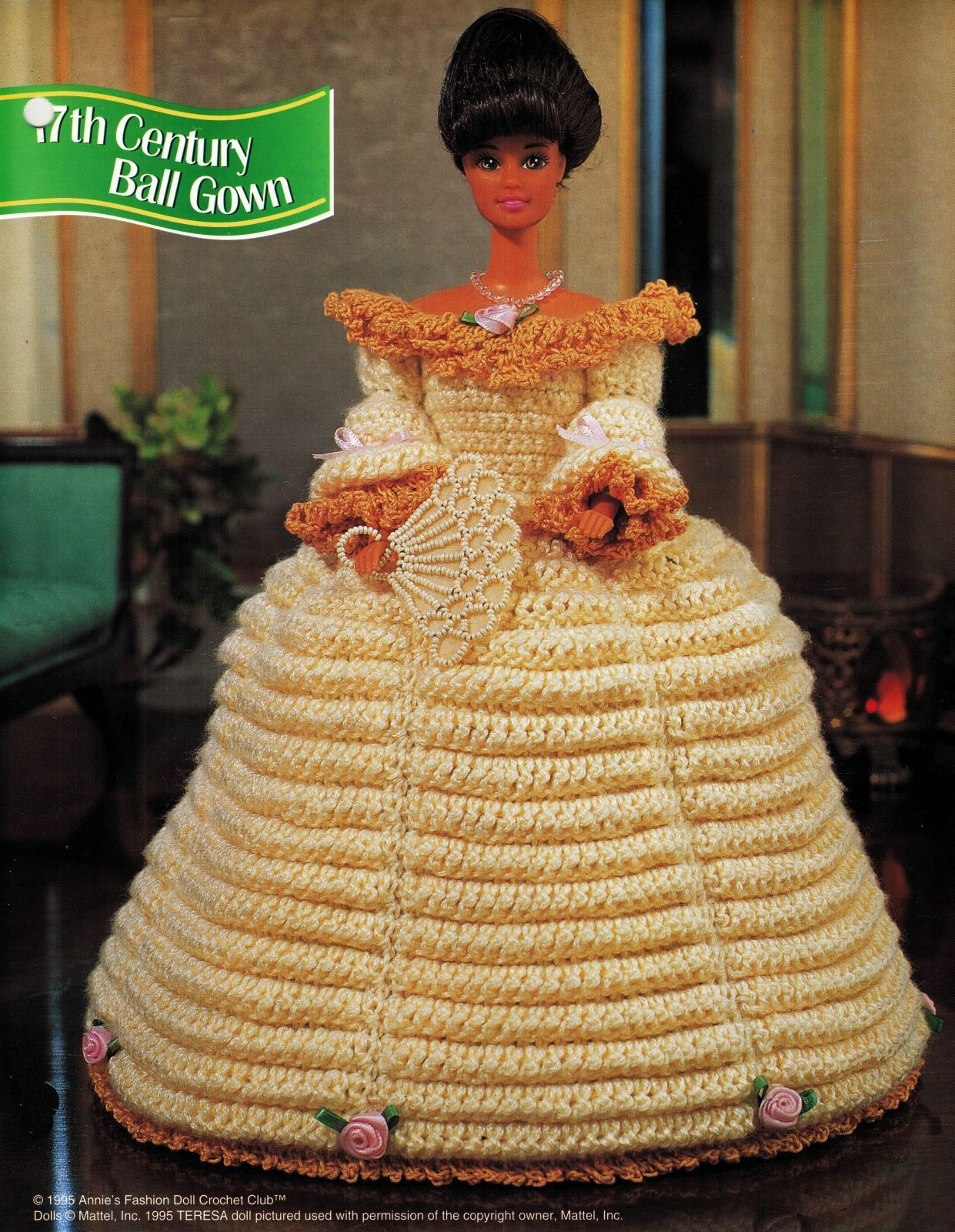 Victorian Cotillion Hoop 17th Century Barbie 11-1/2 Doll Clothes Crochet Pattern image 3