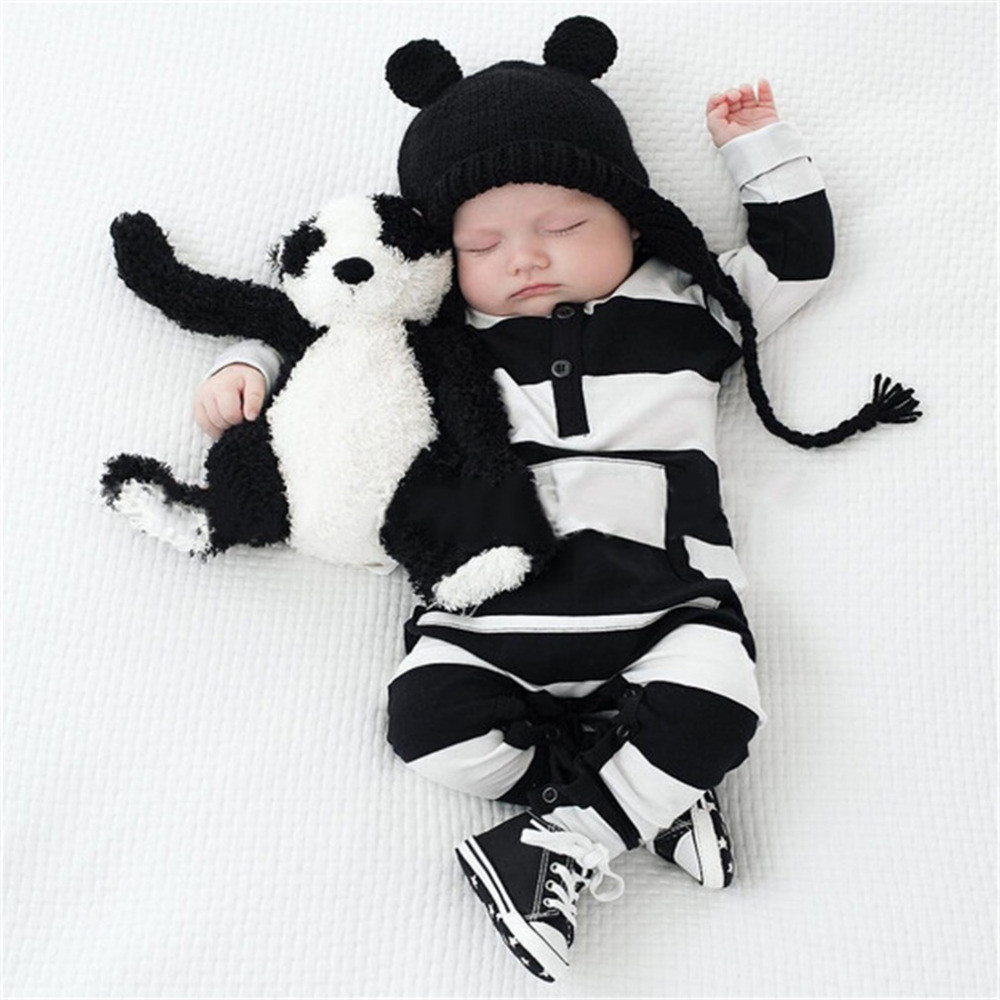 Rompers Boy Clothing White Black Striped Unisex Baby Costume Infant Long Sleeve