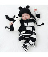 Rompers Boy Clothing White Black Striped Unisex Baby Costume Infant Long... - €10,32 EUR+