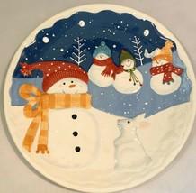 St. Nicholas Square LARGE 11'' Christmas Snowman Snow Days Plate Round C... - $12.77