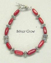 Red Coral Bright Silver Bracelet - $16.99