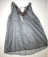 NWT New Designer Josie Natori Silk Womens Sheer Gown Chemise S Gray Lace... - $516.75