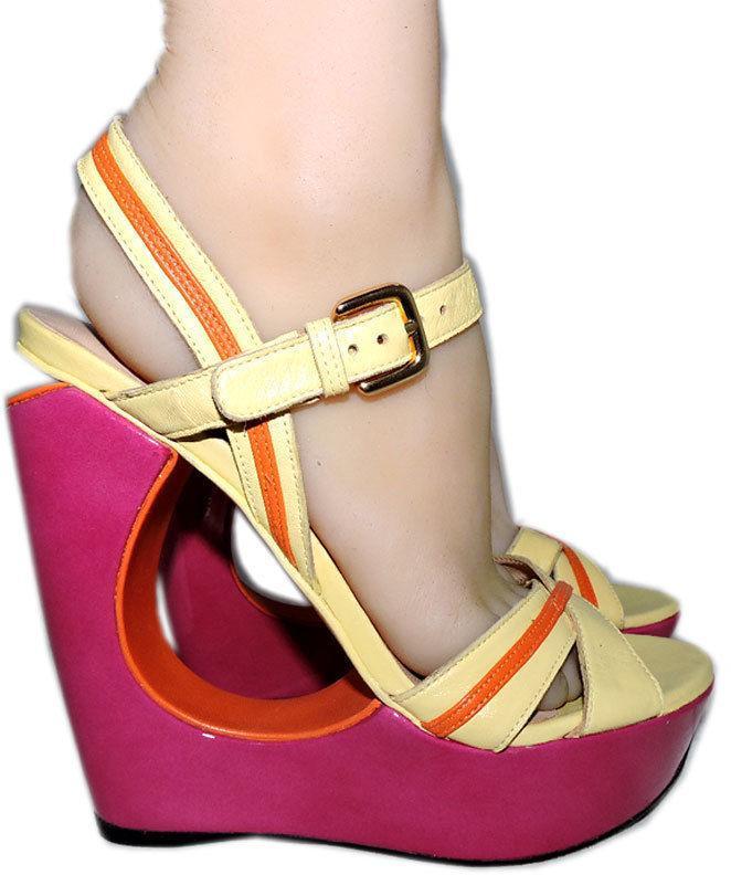 Stuart Weitzman Cut Out Pink Wedge Sandals Color Block Slingback Shoes 10 image 2