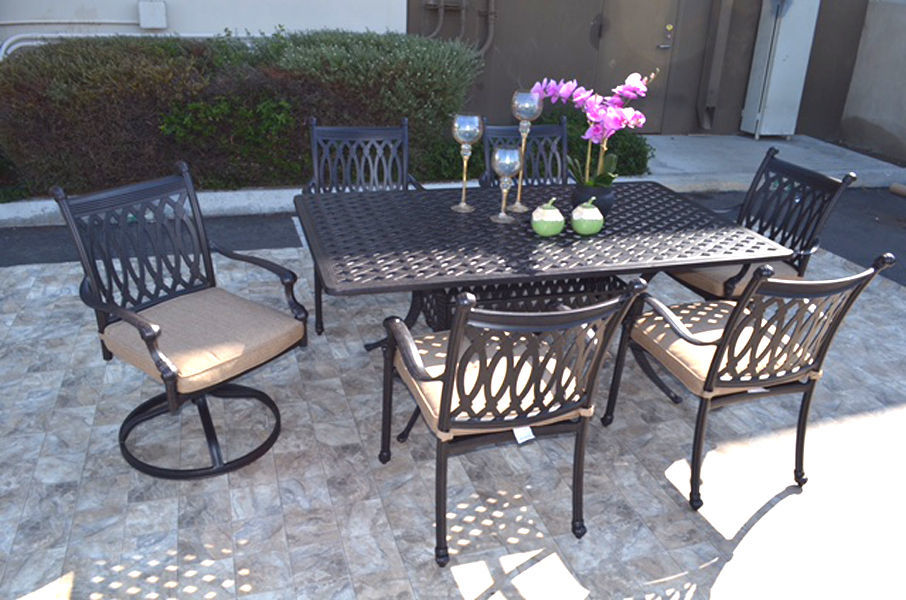 "7pc dining set cast aluminum patio furniture with Nassau 42""x72"" rectangle table"