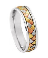 14K Tri-Color Gold Braided Wedding Band Ring - $399.00