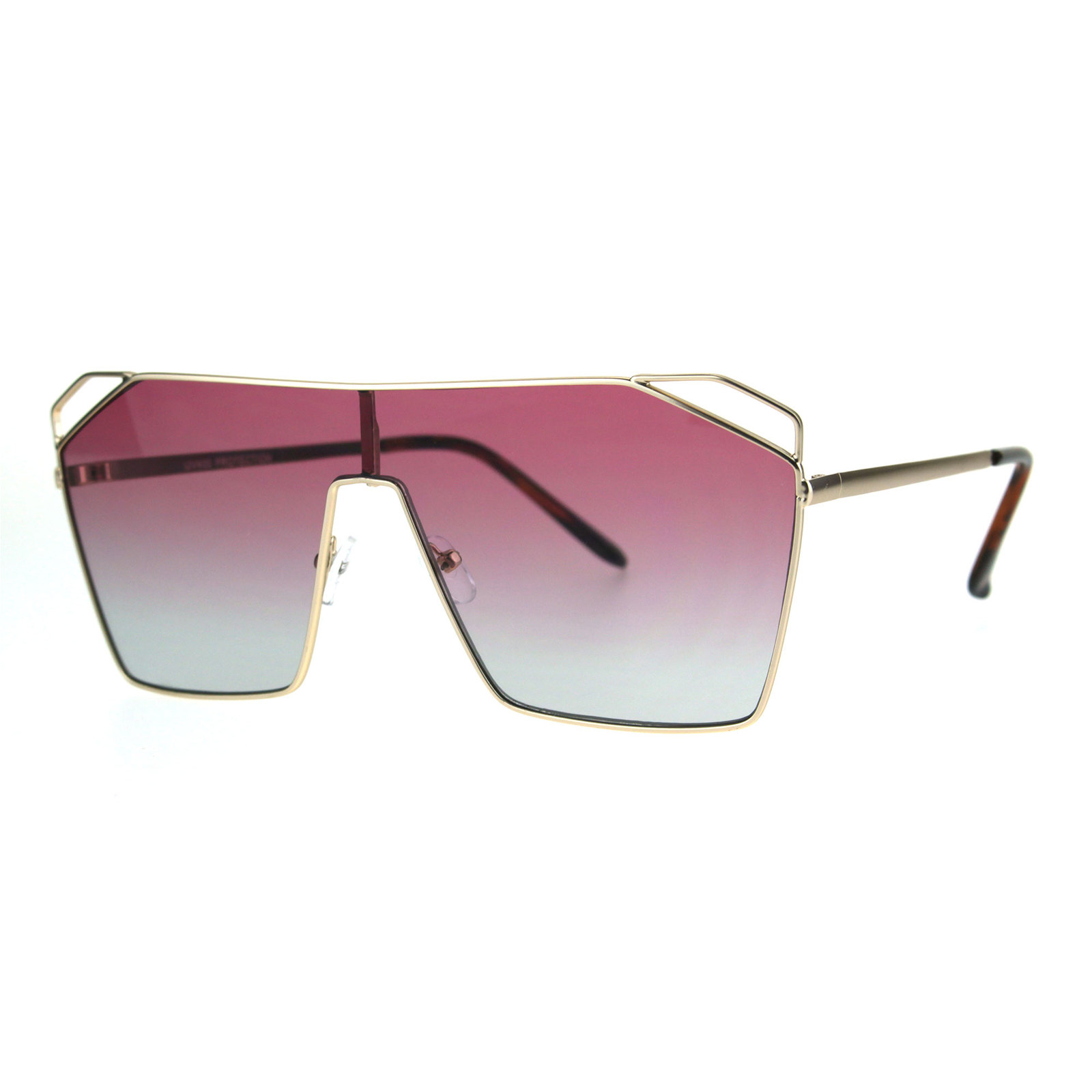 b256d7306b ... Womens Oceanic Gradient Futurist Shield Robotic Metal Aviator Sunglasses  ...