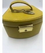 Wolf Designs Jewelry Travel Case Compact Leather Box Yellow Circular Shape - $28.03