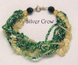 Green & Gold Seed Beads, Citrine Chip Stranded Gold Fill Bracelet - $12.99