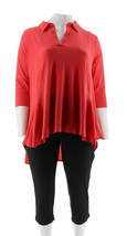 Women with Control Crepe Jersey Tunic Crop Pants Set Hibiscus PM NEW A29... - $36.61