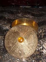 Vintage Round Brass Box  / Amber Jewel - $34.00
