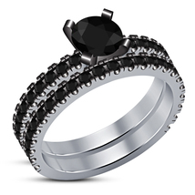 Round Cut Black Sim Diamond White Gold Finish 925 Silver Womens Bridal R... - $87.99