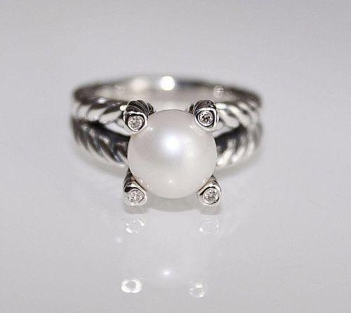 c18330da6f7ea David Yurman Cable Pearl & Diamond Ring Size and 37 similar items