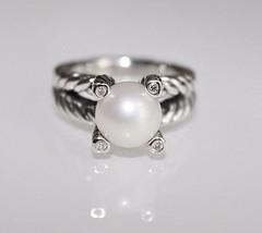 David Yurman Cable Pearl & Diamond Ring Size 8 - $286.11