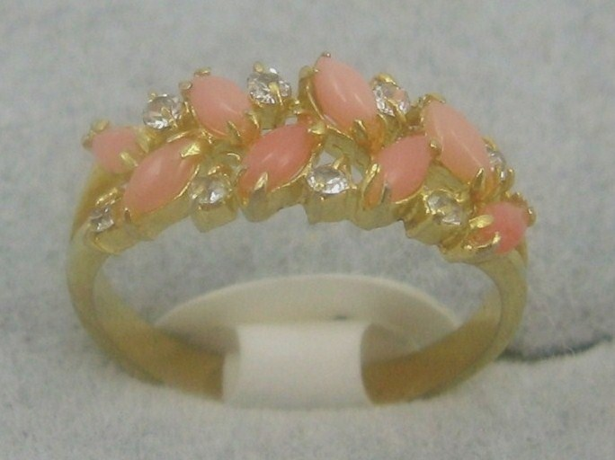 Primary image for VINTAGE GEMSTONE PINK CORAL14K GPcocktail RING sz 6.5-9