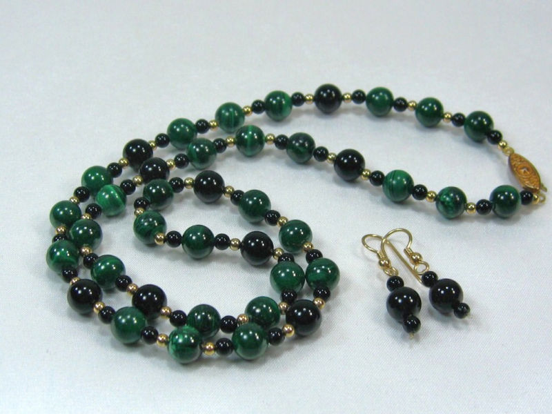 Primary image for VINTAGE HANDCRAFT GEMSTONE BL. ONYX MALACHITE BEADS NECKLACE EARRING set  24""
