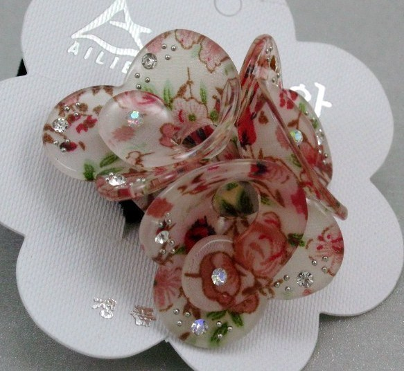 RED ROSES flower RHINESTONE HAIR SCRUNCHIES PONY TAIL NEW Bonanza