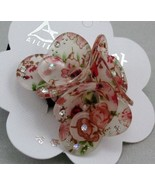 RED ROSES flower RHINESTONE HAIR SCRUNCHIES PONY TAIL NEW - $7.50