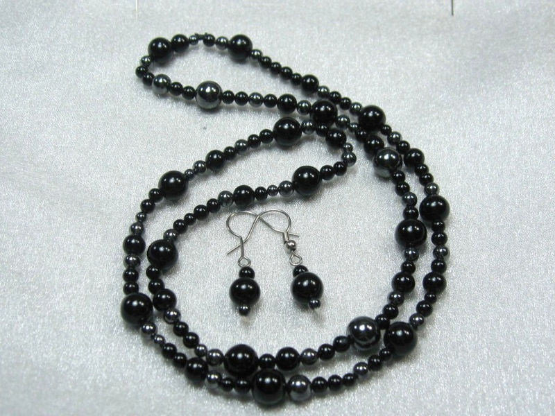 Primary image for HANDCRAFT GEMS ONYX  HEMATITE NECKLACE EARRING SET 23""