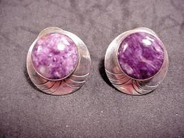 Edith James NAVAJO Earrings Native American Sterling Silver Charolite Pi... - €43,75 EUR