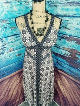 INC Maxi dress V neck floral flattering criss cross back red black size ... - $20.09